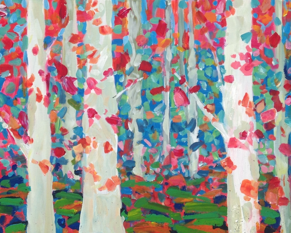 Jodie Maurer - Birch Tree Forest Pink and Green, 24x30in $750 acrylic.jpg