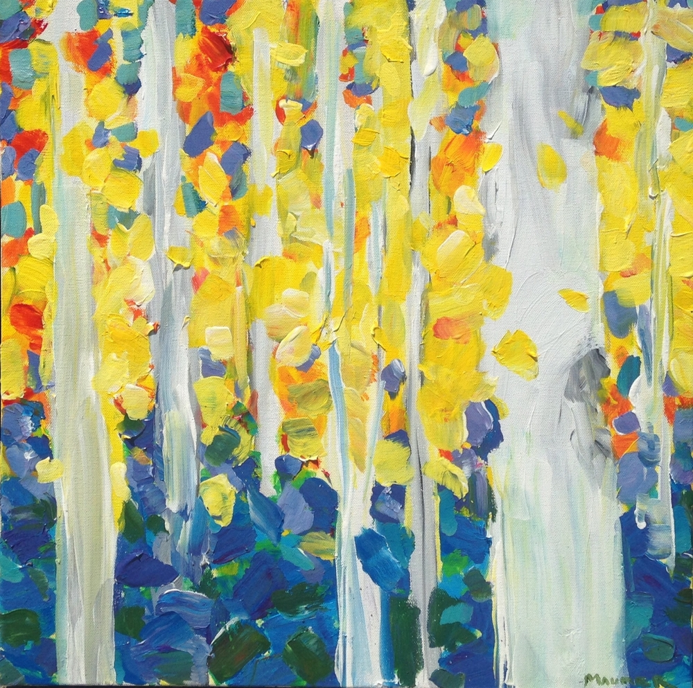 Jodie Maurer - Birch Tree Forest, Yellow 24x24in $500 acrylic.jpg
