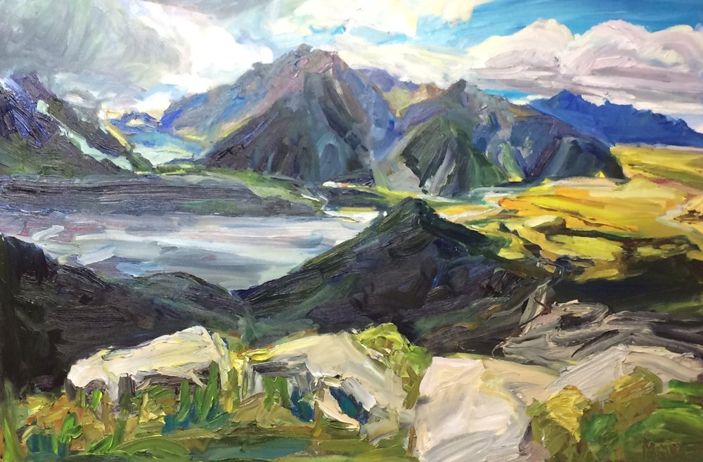 Sealy Tarns Track in Aoraki, Mount Cook National Park, New Zealand, Oil, 24x36in, $795