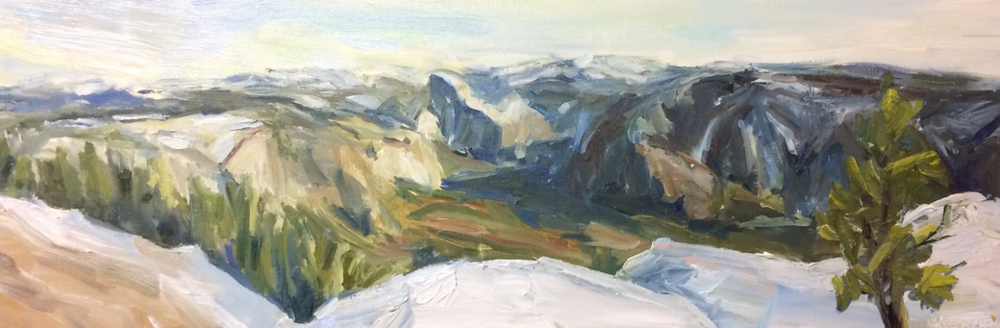 Yosemite - Check out my video of painting Yosemite in the studio! I was sent a picture to paint by two friends. What a view! Click for more.