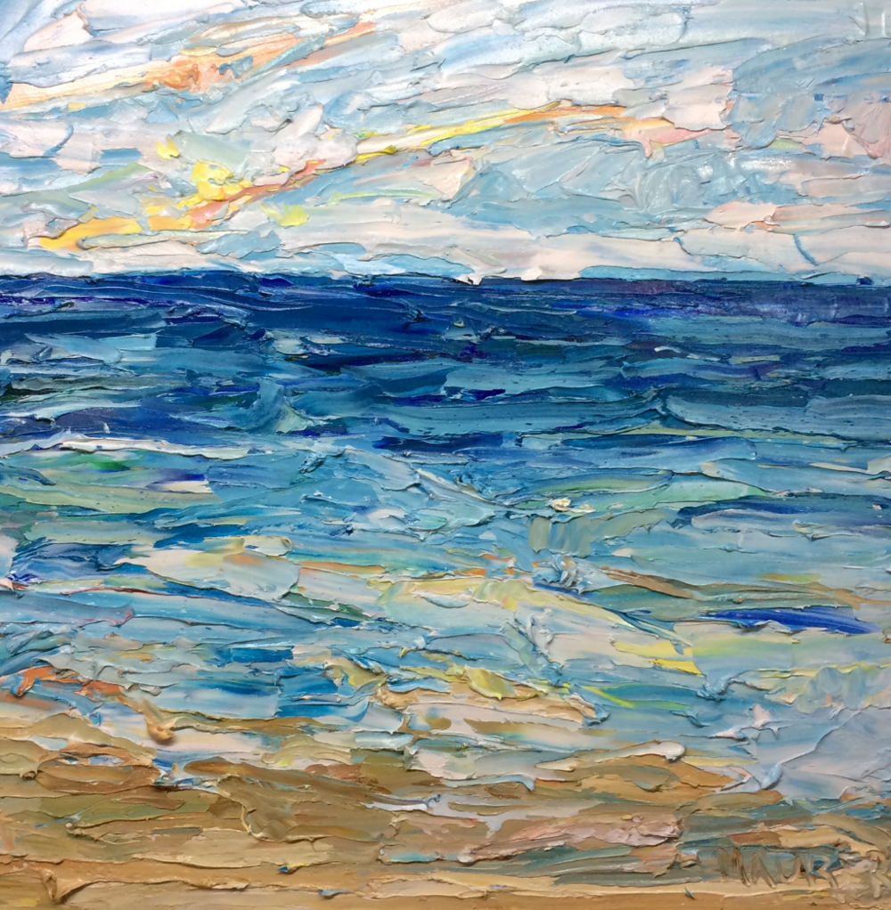Ocean - Check out my video of painting Ocean Sun, Stone Harbor, NJ in my art studio. Click for more.