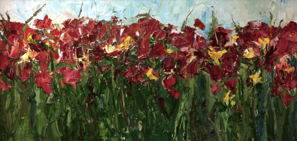 Red and Yellow Flowers, Commission - Check out my painting video of this field of flowers and learn more about the commission process.