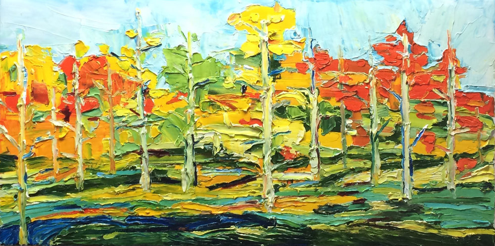 Aspens 2 - Enjoy a time-lapse of this painting. See first hand the palette knife technique, resulting in gestural movement of oil paint with thick texture evoking the commanding presence of an aspen grove in full color.