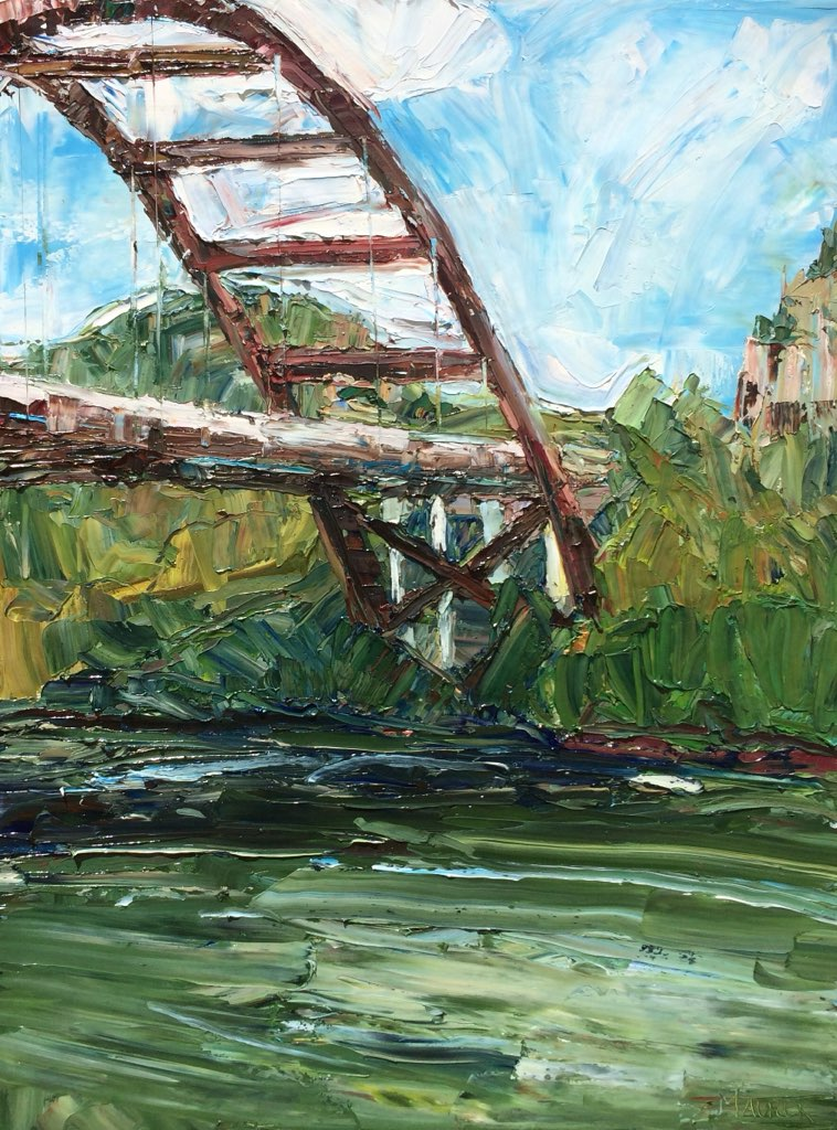Bridge over the Lake, Austin, TX, Oil, 48x36in, $3,700
