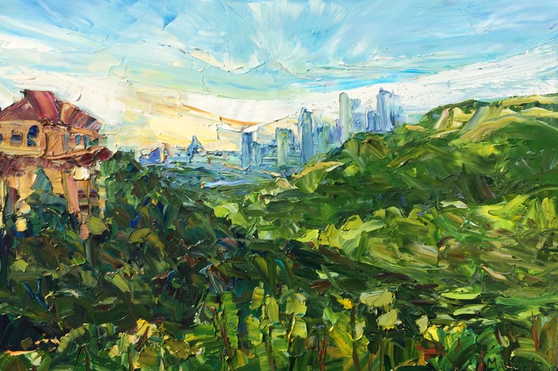 City Skyline, Austin, TX - Time-lapse painting video on location in Austin, Texas.