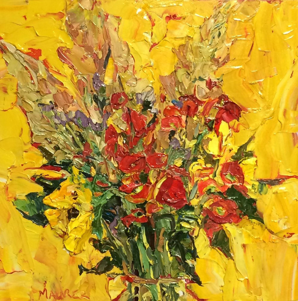 "Harvest Floral: ""Whose seed is in itself"" oil, 20x20in, $850, Sold"