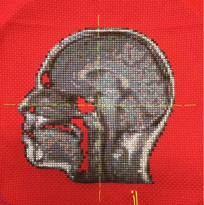 Lada Dedic Self Portrait; Artist's Brain Stranded cotton on aida cloth, 2015 270 x 260mm Stitching time: 43 hours