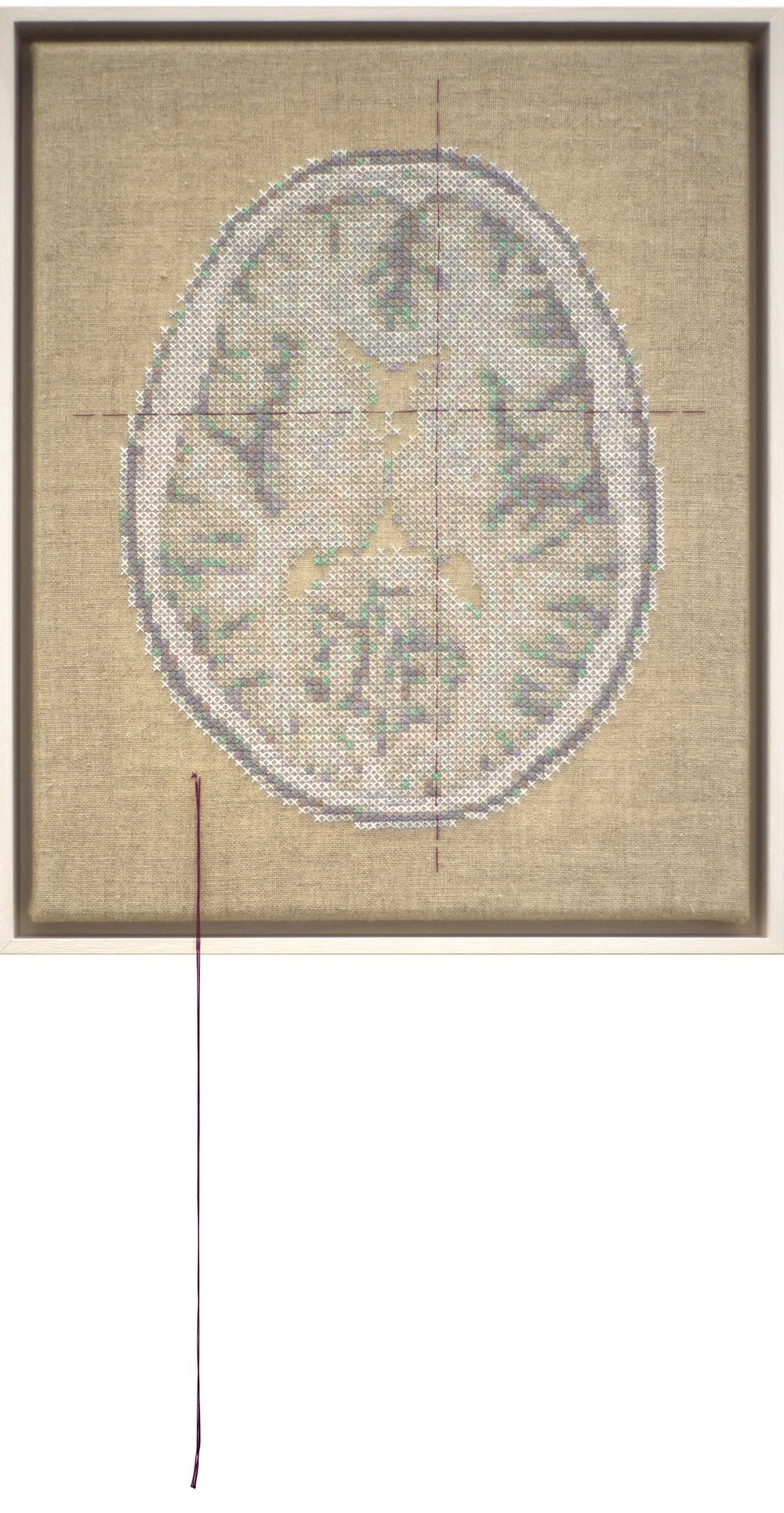 Self Portrait; Artist's Brain Stranded cotton on linen, 2017  Stitching time 49 hours 55 minutes    photo Bob Newman