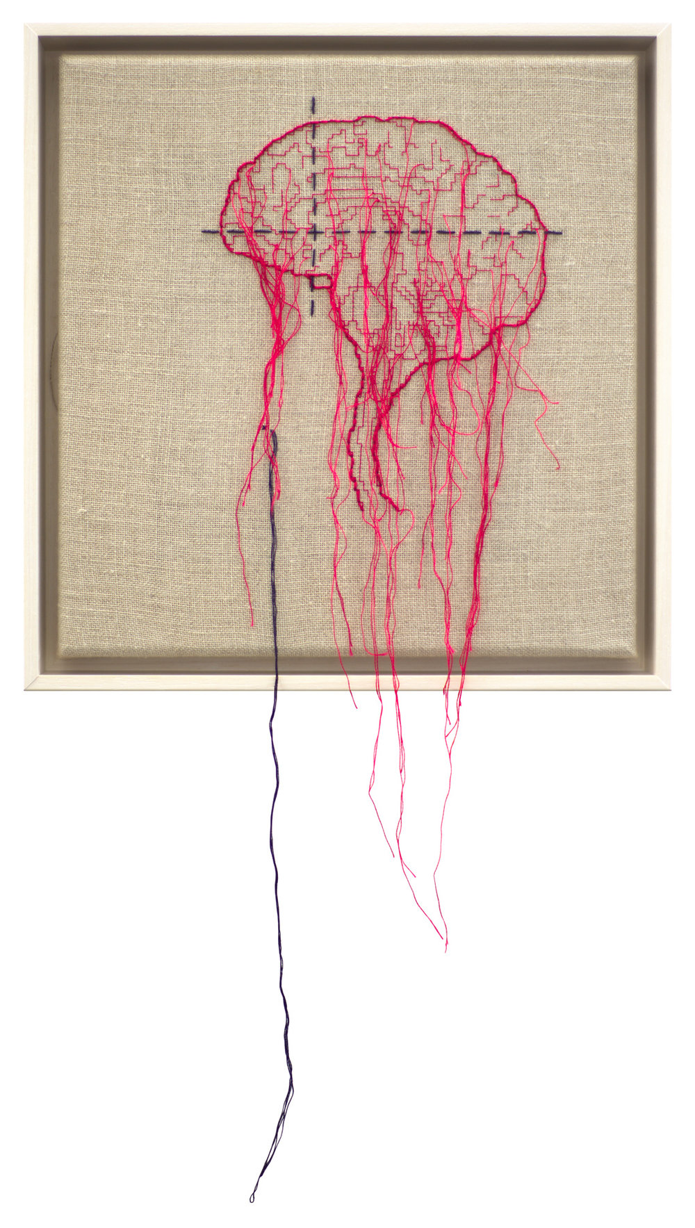 Self Portrait; Artist's Brain Stranded cotton on linen, 2018 300 x 290 mm   photo Bob Newman