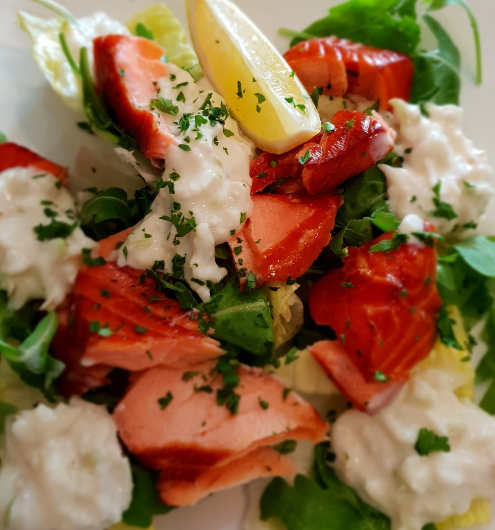 hot smoked salmon horseradish apple Taylor's seafood and burger restaurant.jpg
