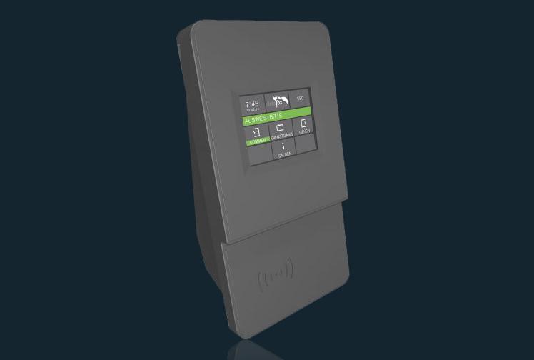 Das optional Zeiterfassungsterminal (Batteriepufferung, Wandmontage, automatische Synchronisierung in die Web-Arbeitszeiterfassung