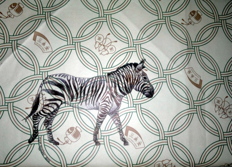Zebra on Japanese Wrapping Paper