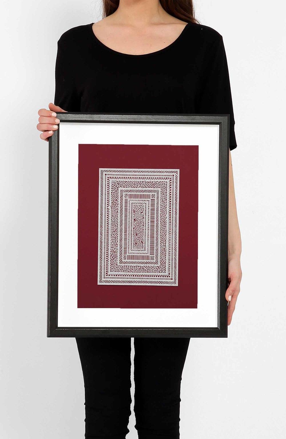 Untitled White Geometrical Medium on Red_Framed.jpg