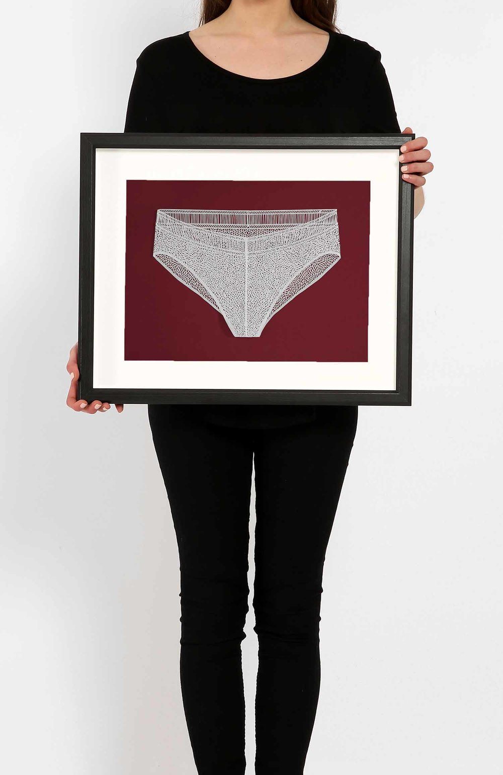 Underwear White Large on Red_Framed.jpg