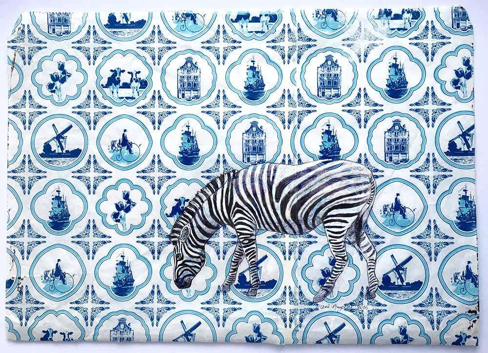 Zebra on Dutch wrapping paper