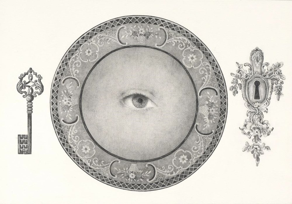 Eva Marathaki_In broad sunlight lay a white dish containing one peeled ball_2014_pencil on paper_ 30x43cm.jpg
