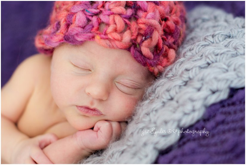 newborn baby girl from ocean county nj in purple and peach
