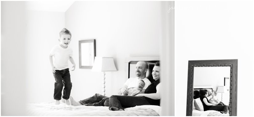 family photos on bed with newborn baby girl