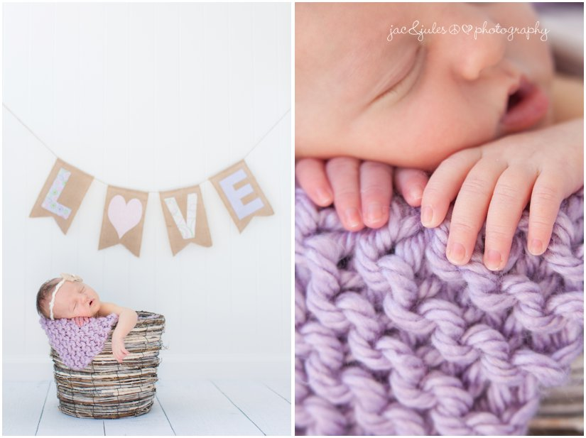 newborn baby girl in twig basket with purple love banner
