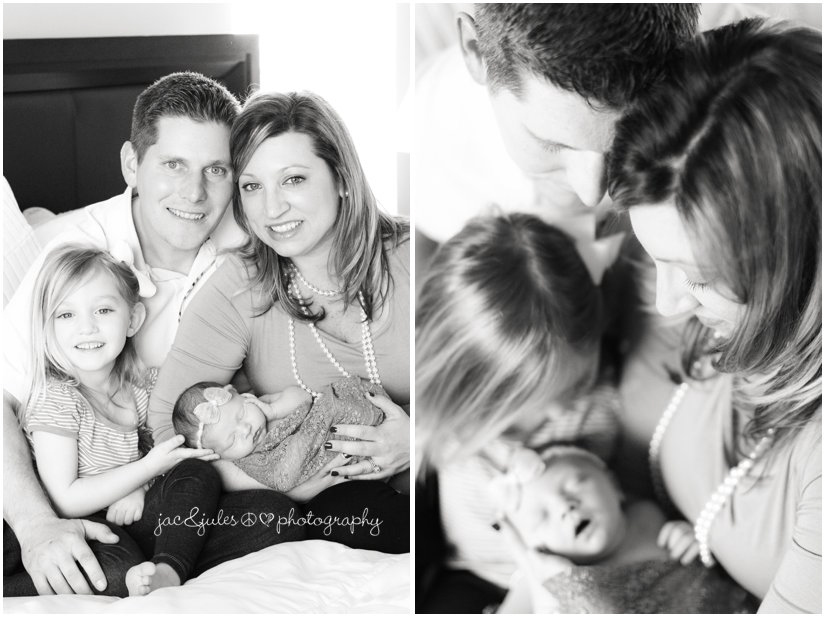 lifestyle family photos with newborn baby girl