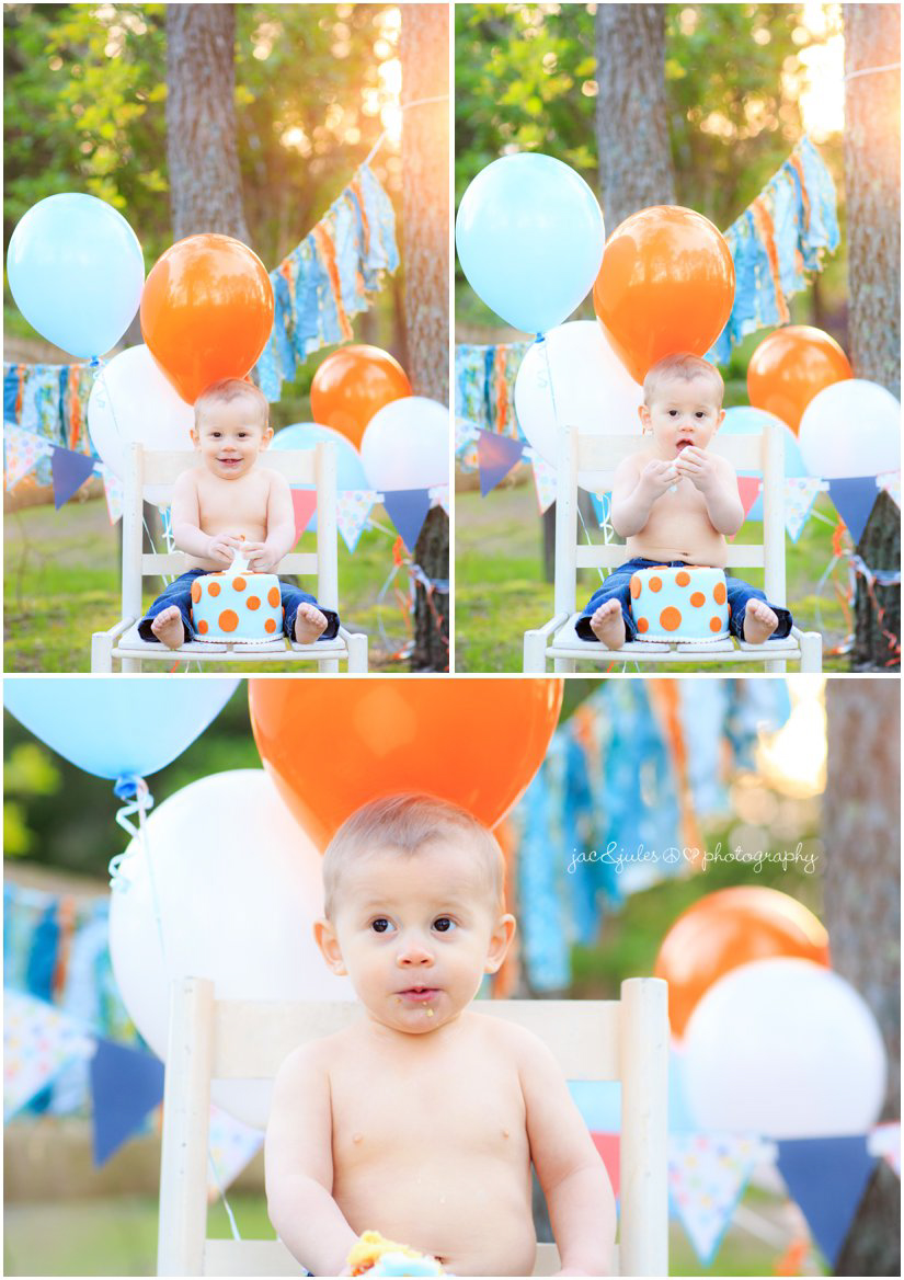 first birthday cake smash photos by jacnjules at Beachwood Beach in Ocean County, New Jersey