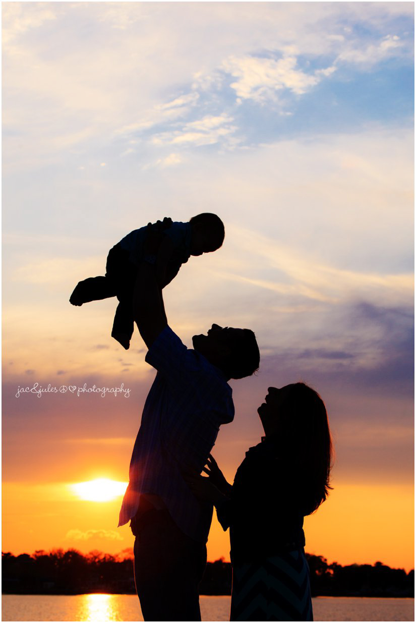 sunset silhouette family photo by jacnjules at beachwood beach in New Jersey