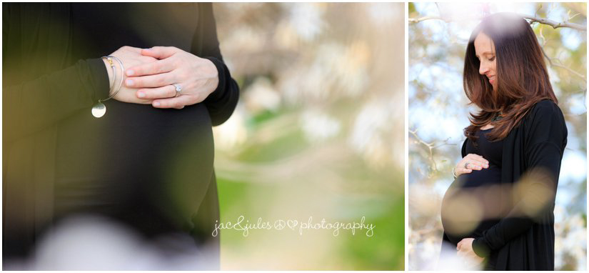 maternity photos with cherry blossoms by jacnjules at deep cut gardens in Holmdel, NJ