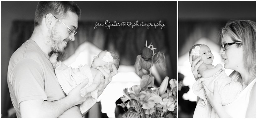 black and white newborn baby girl with parents photo by jacnjules in ocean county, nj