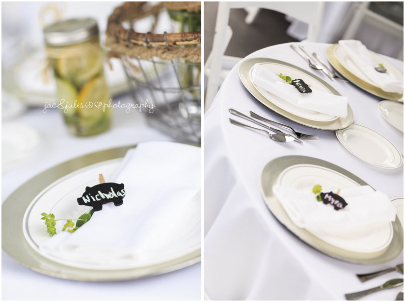 table settings with pig place cards for farm wedding