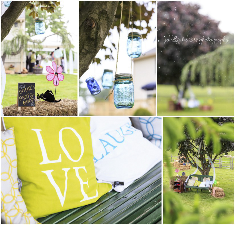 diy photo booth with hanging mason jars