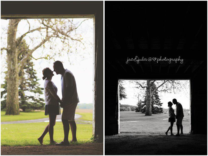 wedding couple in barn door silhouette