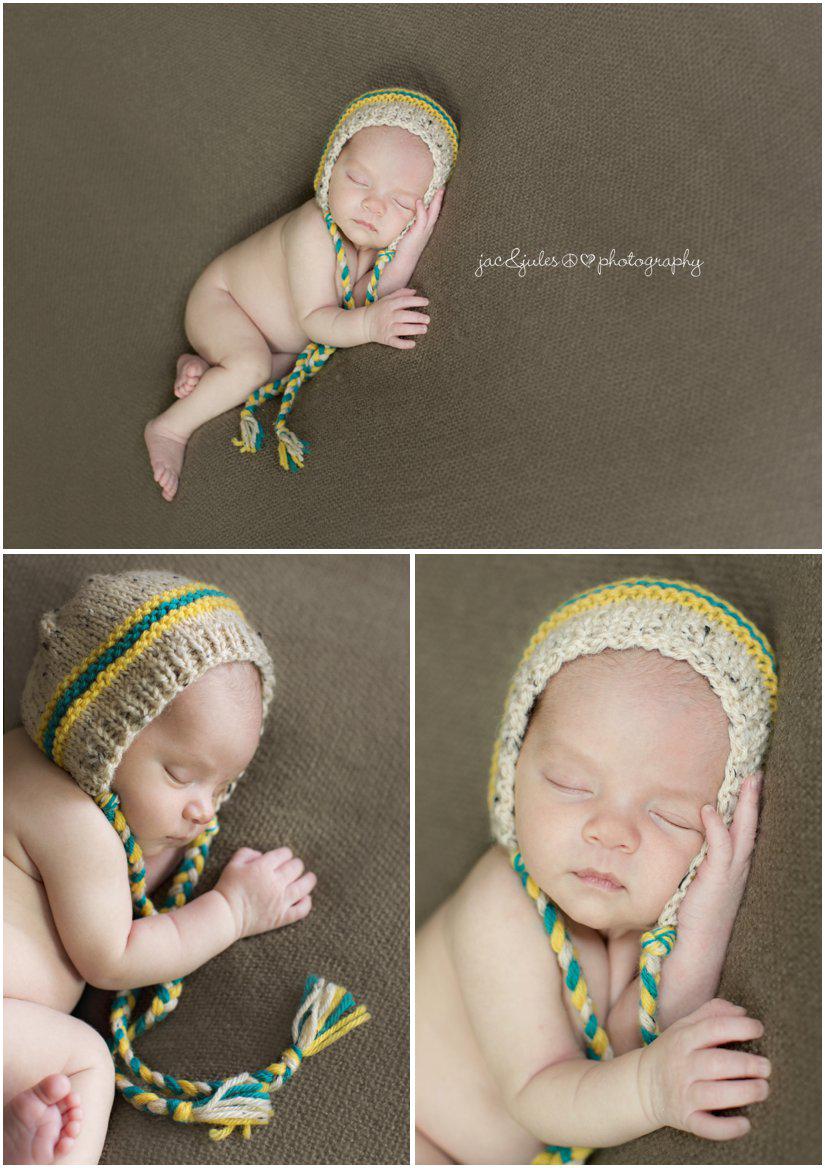 newborn baby boy in bonnet from little blue bird by jacnjules