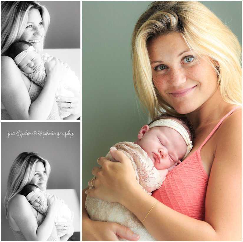 newborn baby girl and family on bed by professional newborn photographers jacnjules