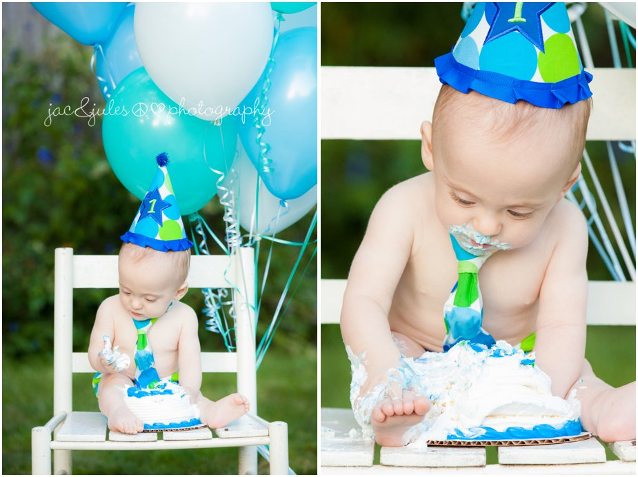 Birthday boy enjoying his 1st birthday cake photographed in Toms River, NJ by JacnJules