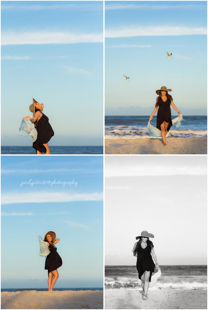 Mom to be embracing her pregnancy excitement in an adorable sundress and sun hat on Island Beach State Park, NJ by JacnJules