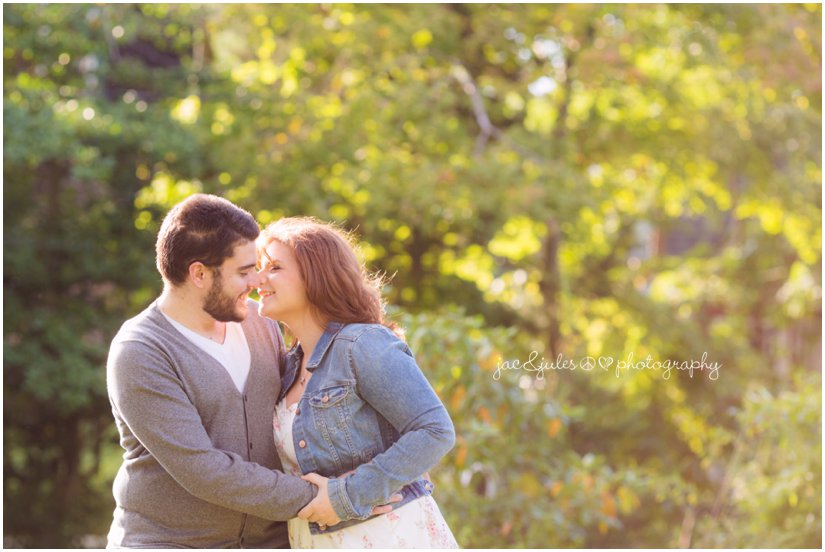 Romantic shot of engaged couple photographed in Island Heights, NJ by JacnJules