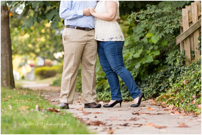 Creative shot of engaged couple in Island Heights, NJ photographed by JacnJules