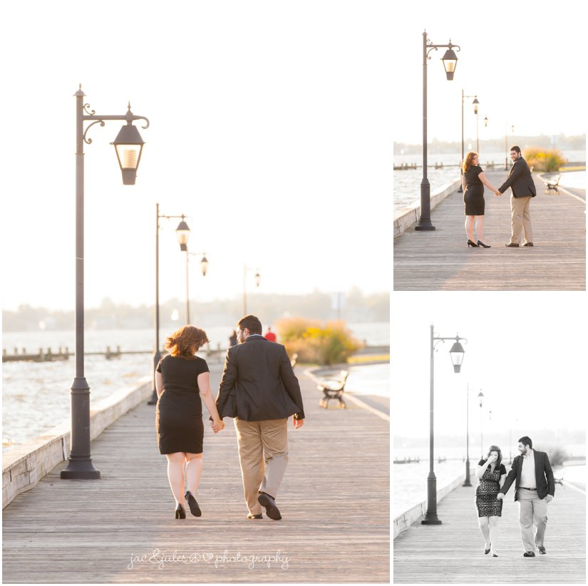 Engaged couple all dressed up on Island Heights, NJ boardwalk photographed by JacnJules