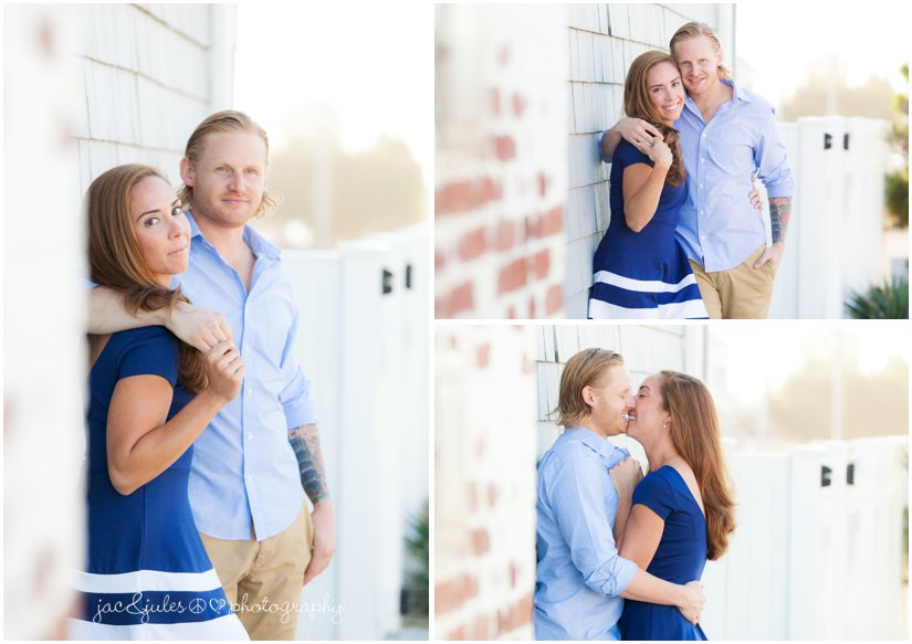 Engaged couple along brick wall in Manasquan Beach, NJ photographed by JacnJules