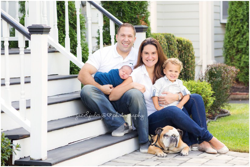 Great family photo with their newborn baby and dog taken in Westfield, NJ by JacnJules
