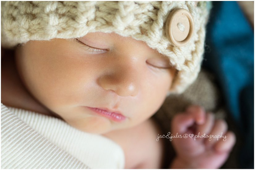 Close-up shot of adorable newborn taken in Westfield, NJ by JacnJules