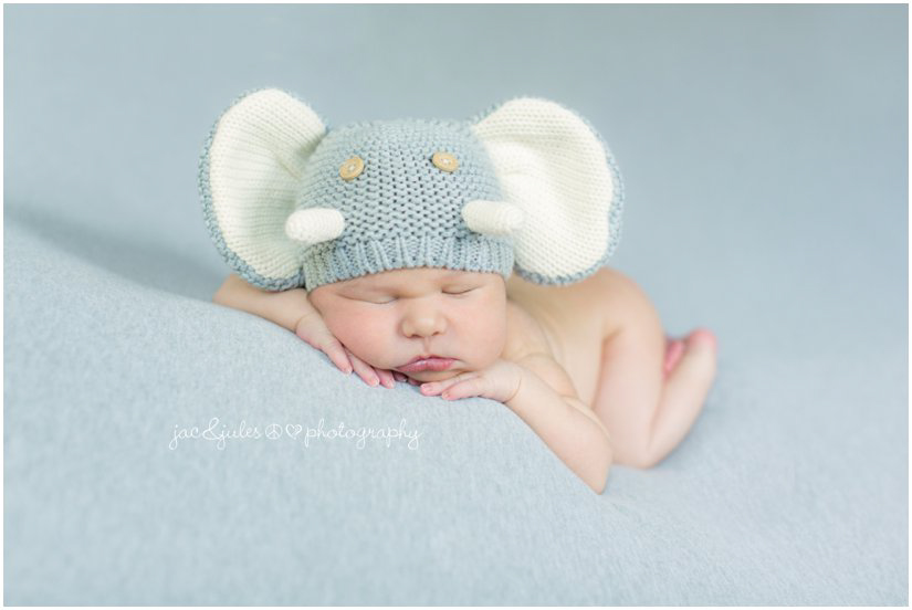 Creative newborn photograph of newborn in knit elephant hat taken by JacnJules in Westfield, NJ
