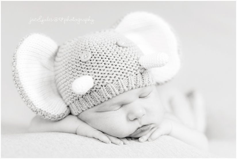 Close-up of newborn in crochet elephant hat taken in Westfield, NJ by JacnJules