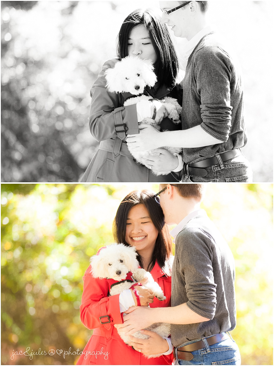 Modern engagement photography of beautiful couple with their dog in Passaic County, NJ by JacnJules
