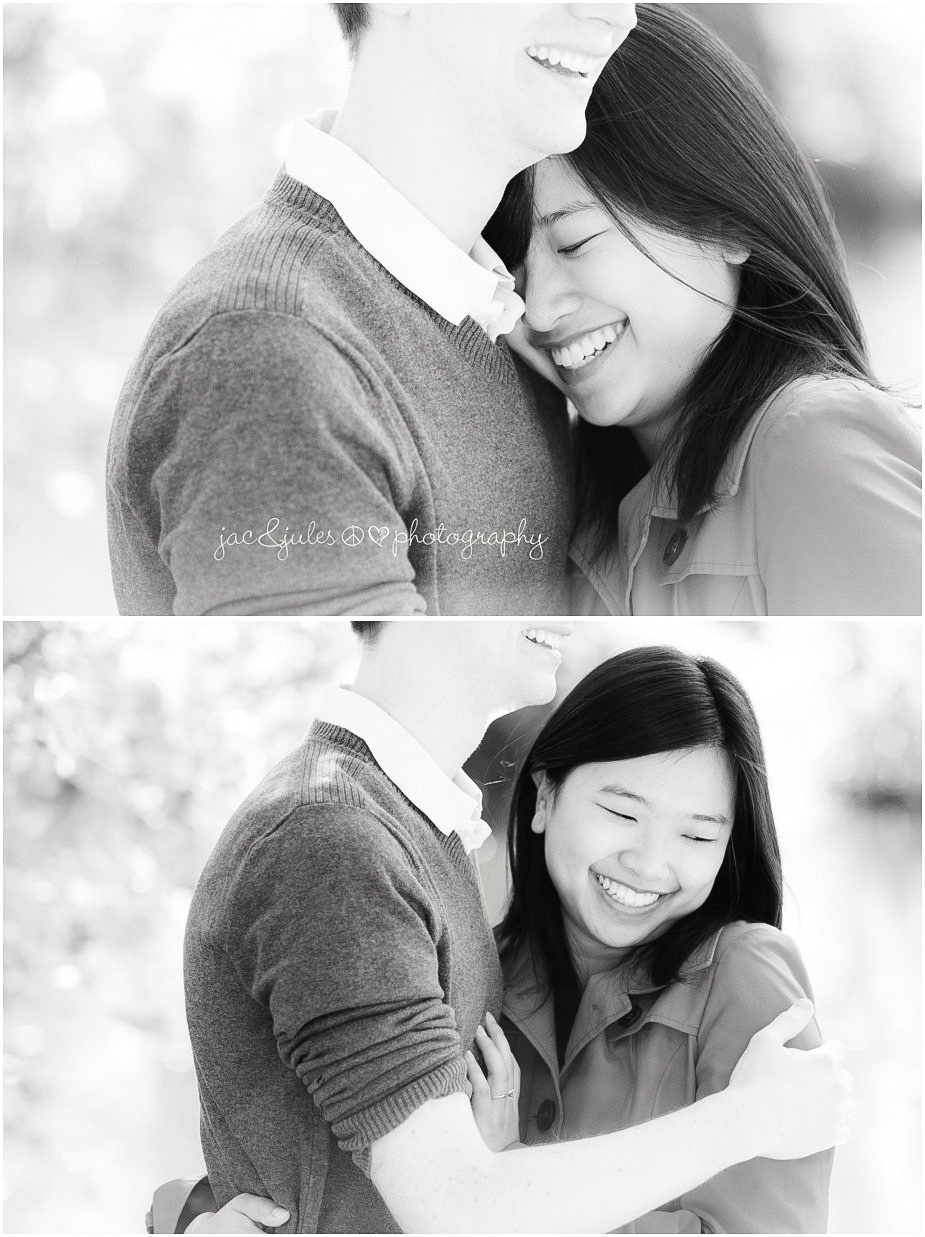 Modern black and white photographs of an engaged couple in Passaic County, NJ by JacnJules