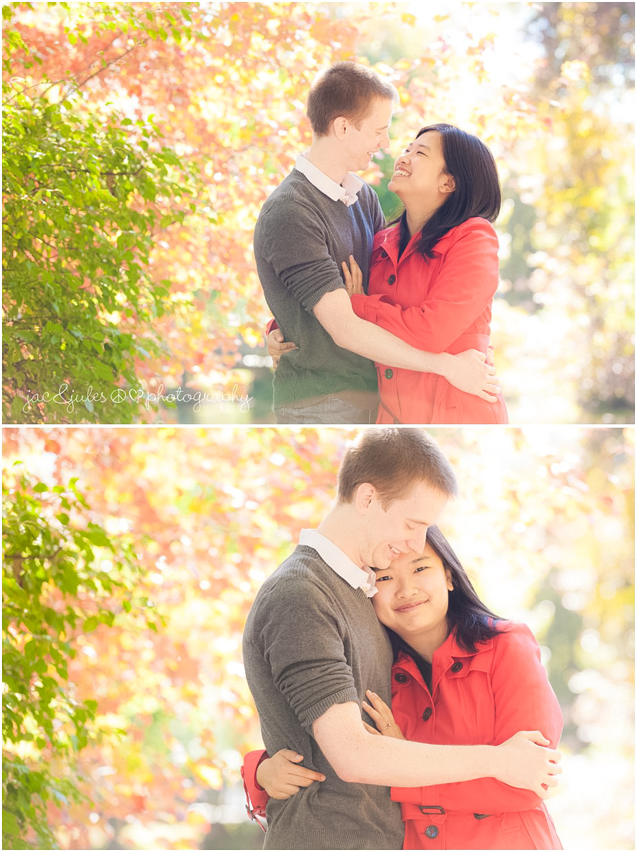 beautiful fall engagement photos at Lake Packanack in Passaic County, NJ by JacnJules