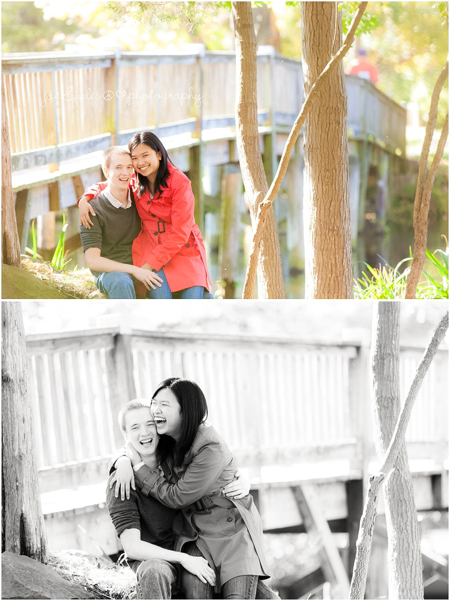 Playful photos of engaged couple in Passaic County, NJ photographed by JacnJules