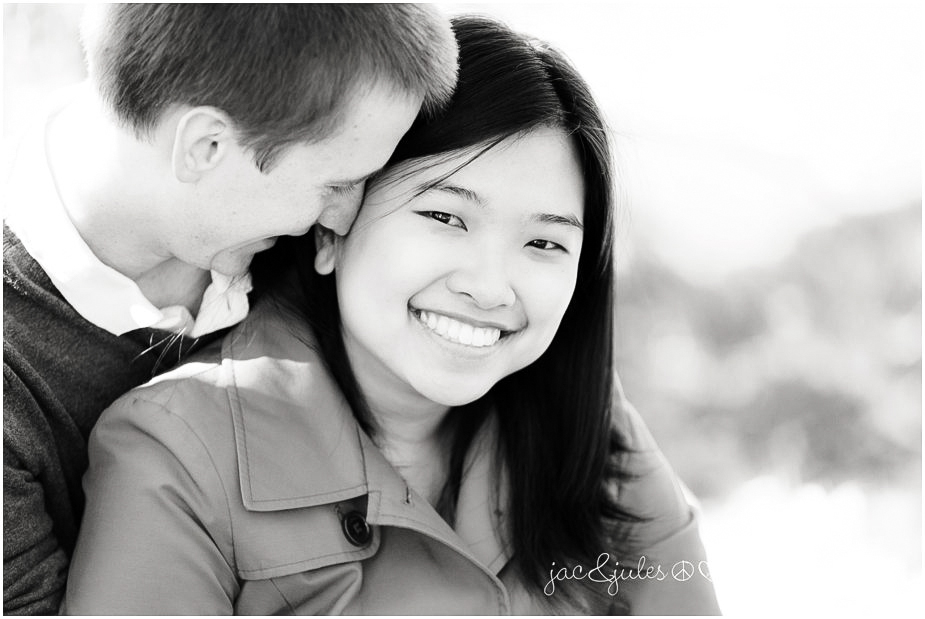 Black and white of engaged couple in Passaic County, NJ by JacnJules
