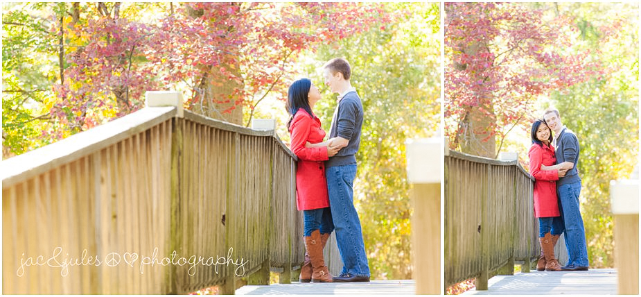 Fall engagement photography taken at Lake Packanack in Passaic County, NJ by JacnJules