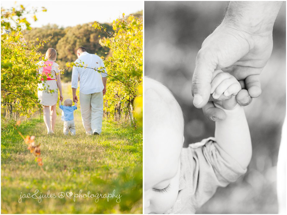 Mom, dad and son walking the vineyards of Laurita Winery in NJ photographed by JacnJules